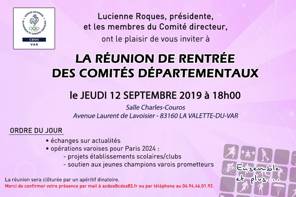invitation reunion rentrée 2019
