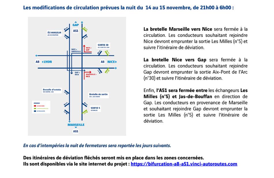 travaux d'amélioration de la bifurcation - circulation modifiée la nuit du 14 au 15 novembre
