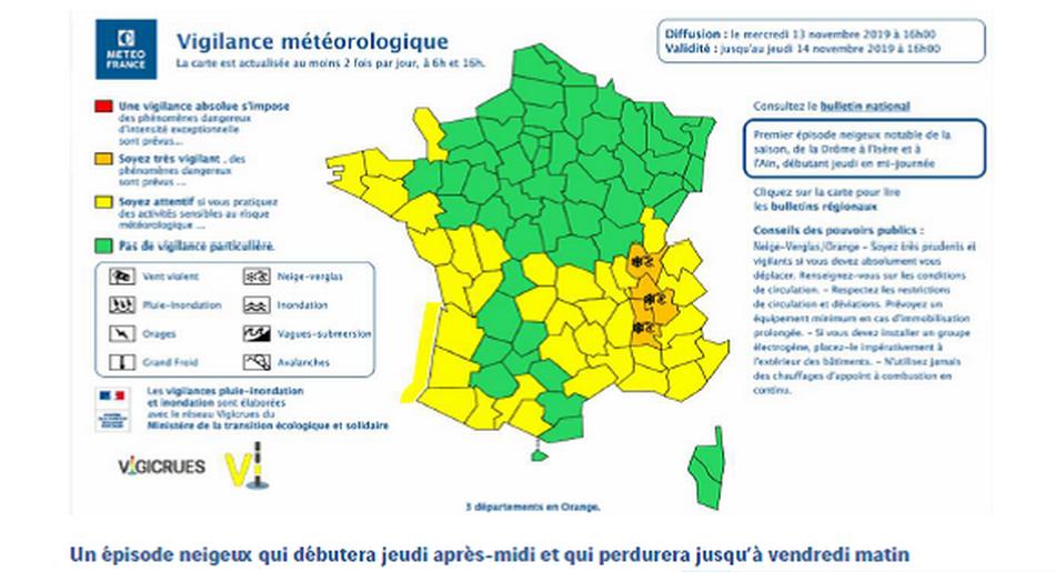 un épisode neigeux attendu demain à l'est du Rhône