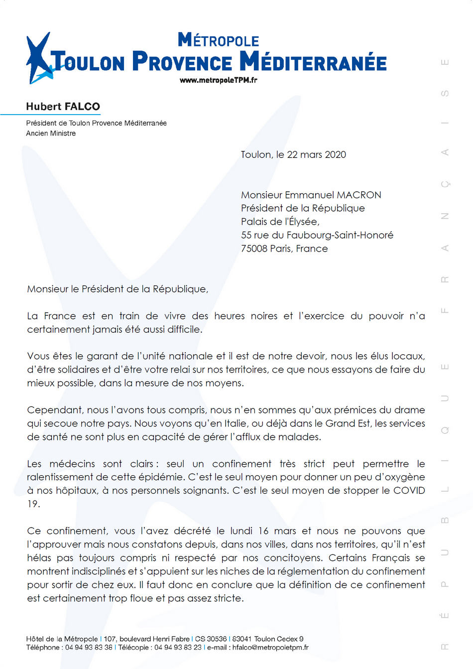 Courrier d'Hubert Falco au Pre´sident de la Re´publique