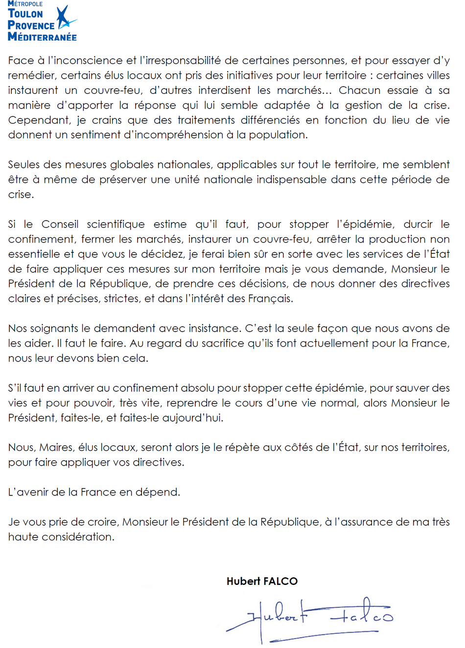 Courrier d'Hubert Falco au Pre´sident de la Re´publique 1