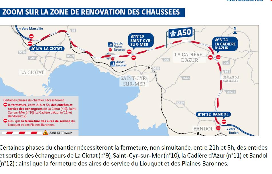 Travaux de rénovation des chaussées de l'autoroute A50 entre La Ciotat et Bandol