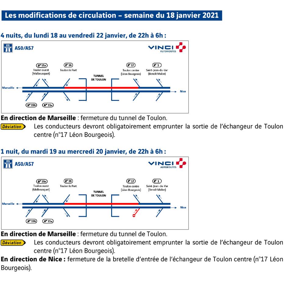 travaux de maintenance dans la région toulonnaise - semaine du 18 janvier